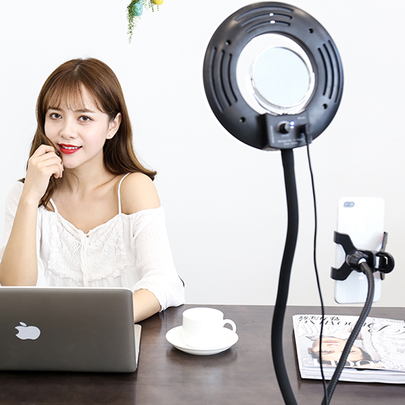 CY 8'' 24W 5500K 120PCS Selfie Ring Light Dimmable LED Lazy Bracket Tabletop Cell Phone Holder Clip For Iphone HTC HUAWEI