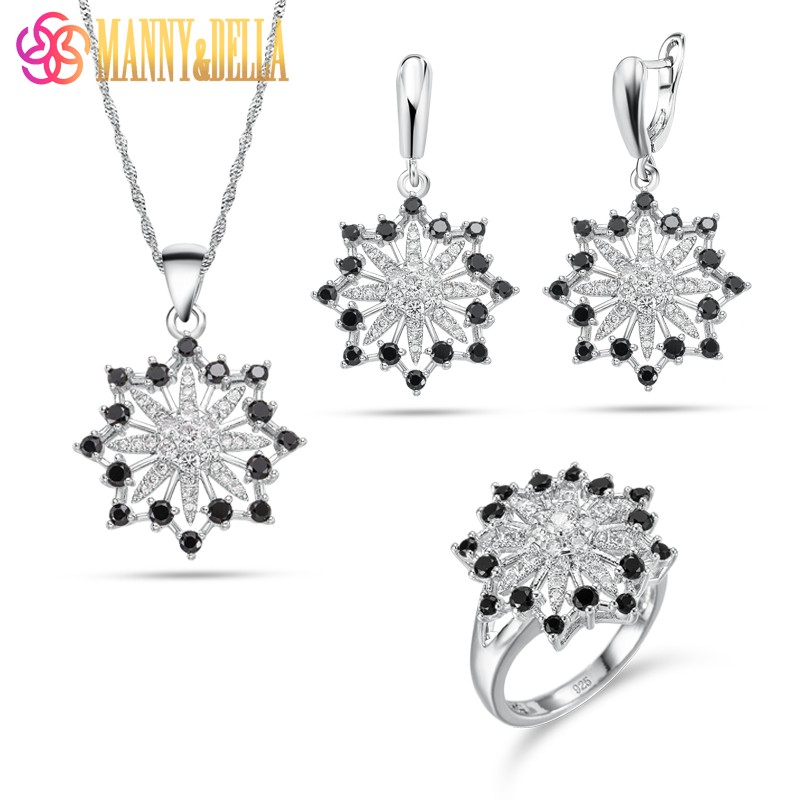925 Sterling Silver Snowflake Shape Attractive Women Black Jewelry Sets 6-Color Earrings Pendant Necklace Ring Free Shipping