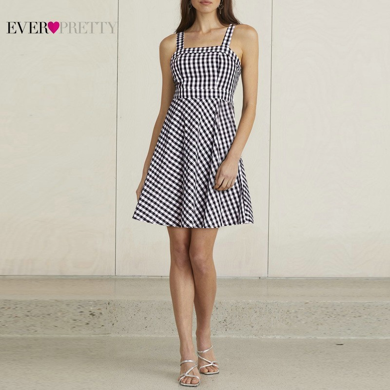 New Homecoming Dresses Short Ever Pretty AS05990WB A-Line Spaghetti Straps Smocked Back Gingham Summer Holiday Party Dressees
