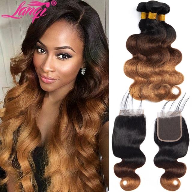 Lanqi Brazilian Body Wave Hair 3 Bundles With Closure Blonde bundles with closure 1B/4/30 Human Hair Ombre Bundles With Closure
