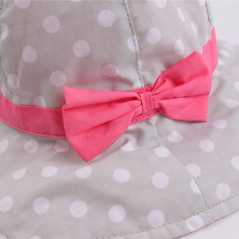 Dots Bowknot Baby Girls Bucket Sun Hat Toddler Kids Wide Brim Summer UV Protection Cap High Quality Cotton Lining Chinstrap Stay On (6)