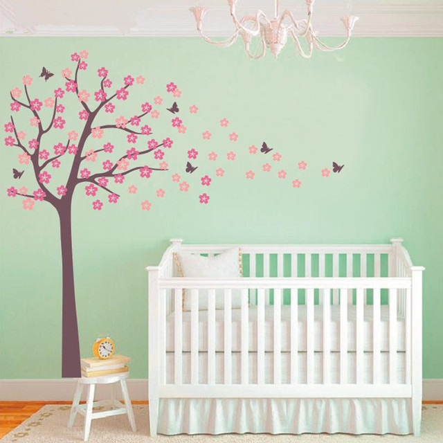 B17 Huge Tree Blowing Cherry Blossom Wall Decal Nursery Tree Flowers  Butterfly Art Baby Kids Room