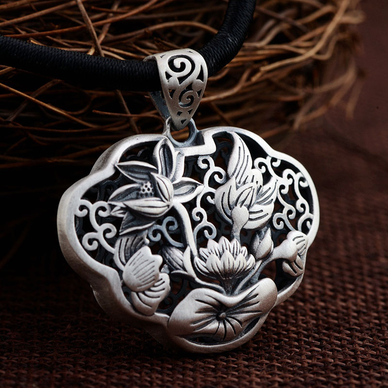 FNJ 925 Silver Flower Pendant 100% Pure S925 Solid Thai Silver Lotus Pendants for Women Men Jewelry Making fnj 925 silver pixiu pendant 100% pure s925 solid thai silver animal pendants for women men jewelry making