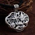 GZ 925 Silver Flower Pendant 100% Pure S925 Solid Thai Silver Lotus Pendants for Women Men Jewelry Making