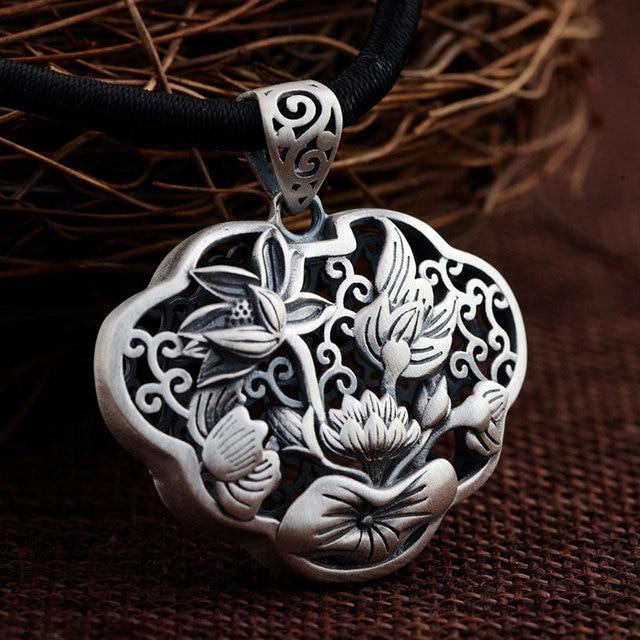 Gz 925 silver flower pendant 100 pure s925 solid thai silver lotus gz 925 silver flower pendant 100 pure s925 solid thai silver lotus pendants for women audiocablefo