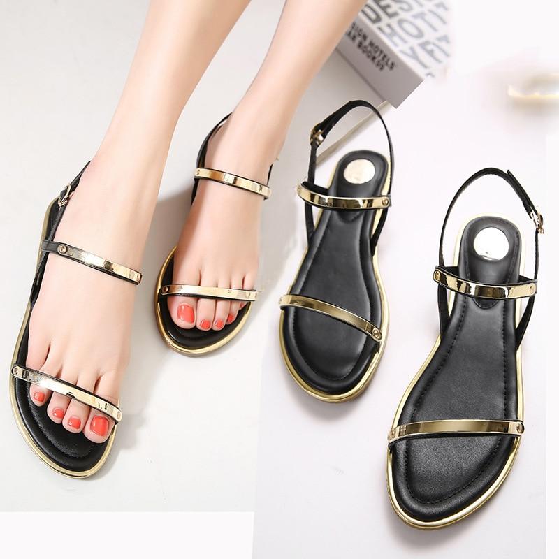30bcd7eb5 New 2019 Women Sandals Sexy Thin Belt Flat Sandals Women Summer Fashion Women  Shoes Gold Sandals