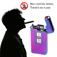 Novelty Arc Dual Purpose Touch Induction Ignition Windproof Pulsed Plasma Lighters USB Rechargeable Electric Cigarette Lighter