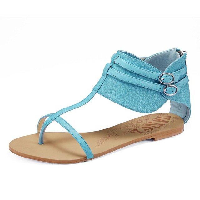 1ff2af53334 3 Colors Women Canvas Flat Sandals Roma Gladiator Buckles Ankle Strap  Zipper Back Retro Vintage Open Toe Fashion 2012