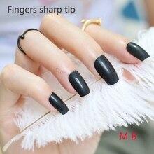 24pcs Hot sell fashion Long section Square head candy false nails decoration black M B