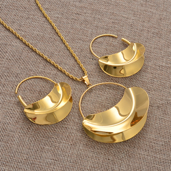 Anniyo African Big Pendant Necklaces Earrings Jewelry Set For Women Gold Color Fulani Ethiopian Wedding Party Gifts #213406