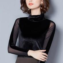2018 New Sexy Women Long Sleeved Mesh Patchwork Velvet T Shirt Female Casual Turtleneck T-Shirt Ladies Slim Mesh Tops Z1