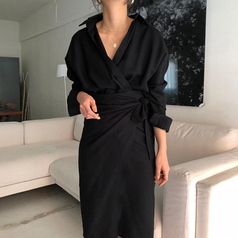CHICEVER Bow Bandage Dresses For Women V Neck Long Sleeve High Waist Women's Dress Female Elegant Fashion Clothing New 19 11