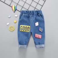 2018 Casual Autumn Clothing   Baby   Kids Boys Infants denim letter print Cotton Long Full Length   Pants   Trousers C1030