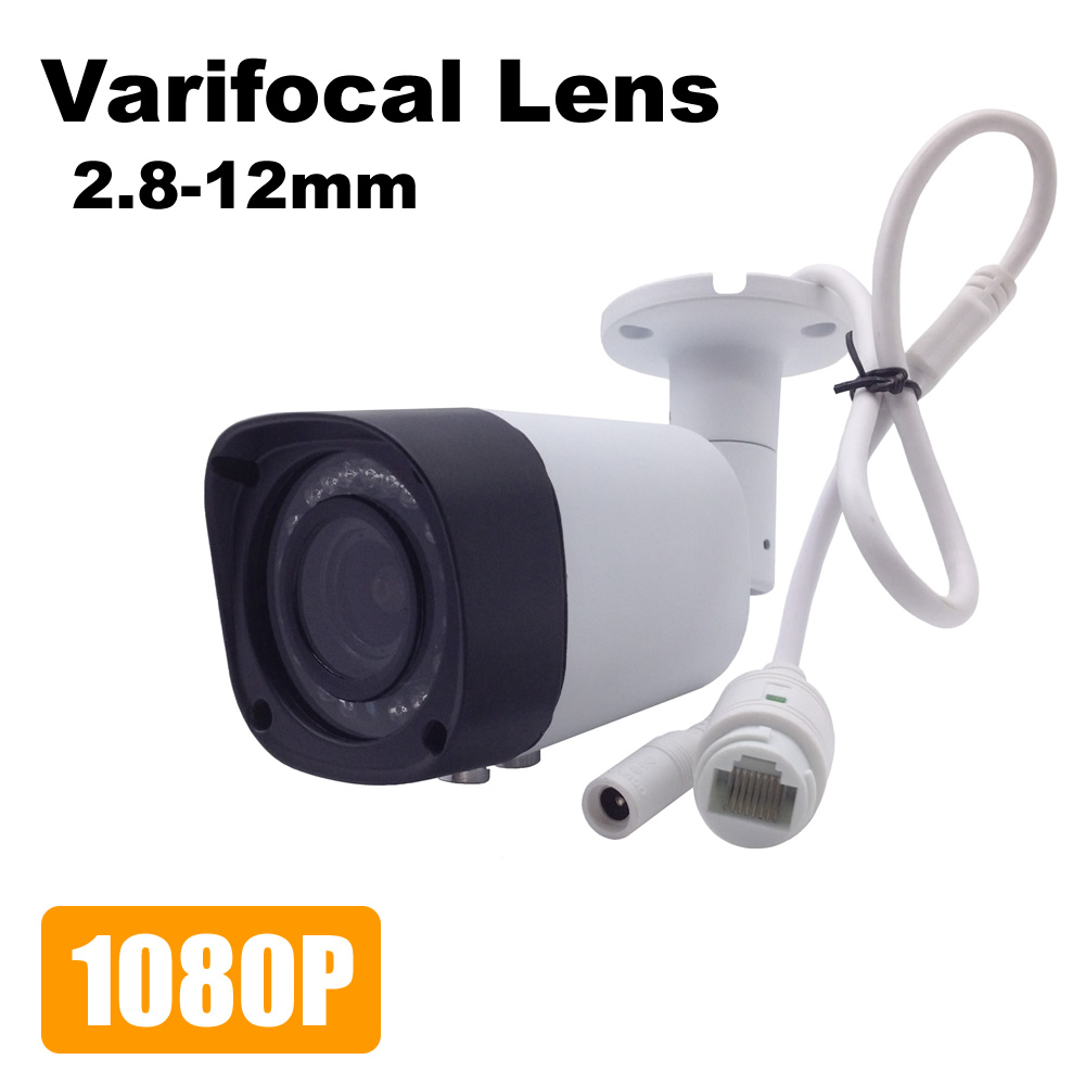 Varifocal IP Camera 2.8-12mm Adjustable Lens 1080P Outdoor Security Camera Zoom Manually Video Surveillance ONVIF Waterproof russian cctv security ip camera 5mp 1080p outdoor 2 8mm varifocal 4x manual zoom built in heater ip surveillance street camera