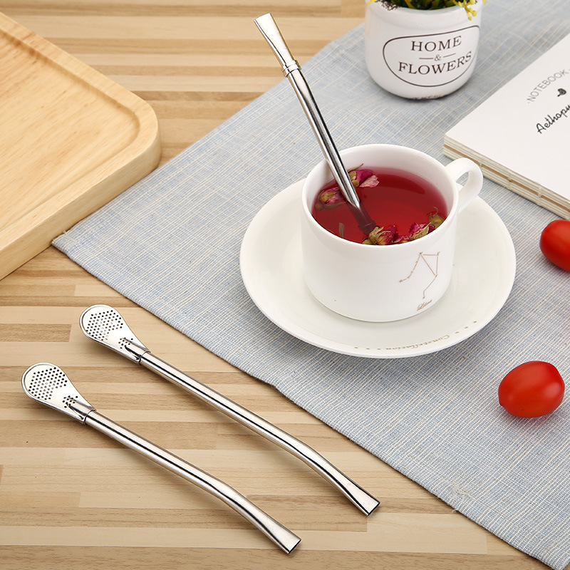 1pc 304 Stainless Steel Straw Filter Leaks Stiring Spoon Reusable Straw