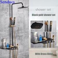 Senducs Black Gold Digital Shower Set 8 Inch ABS Rain Shower Head Quality Brass Bathtub Shower Faucet Black Gold Shower System