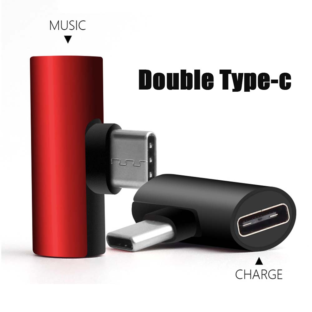 2 In 1 Type C USB 3.1 Audio Charging Dual Adapter AUX Splitter Charger Earphone AUX Cable Connector Converter Adapter For Huawei
