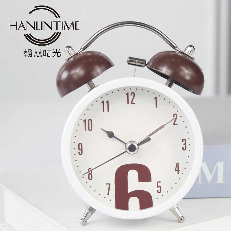 NEW Creative 3 inch Bell Alarm Clock Coffee Modern Destop Clock Table Bedside Clocks Kids Adults Travel Clock Decor