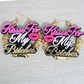 Gold Bamboo Hoop Earrings KISS For MY BITCHES Earring Fashion Punk Night Club Women Jewelry Accessories Acrylic Sexy Lips Letter