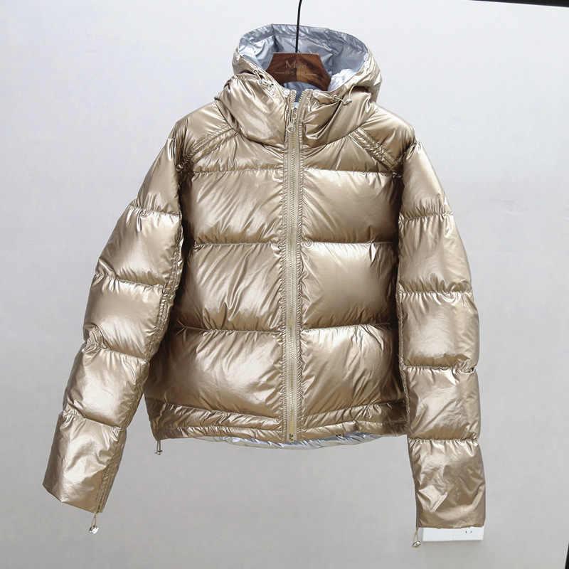 Ailegogo 골드 실버 더블 사이드 다운 코트 겨울 자켓 여성 후드 화이트 오리 파커 스 여성 따뜻한 눈 아래로 겉옷