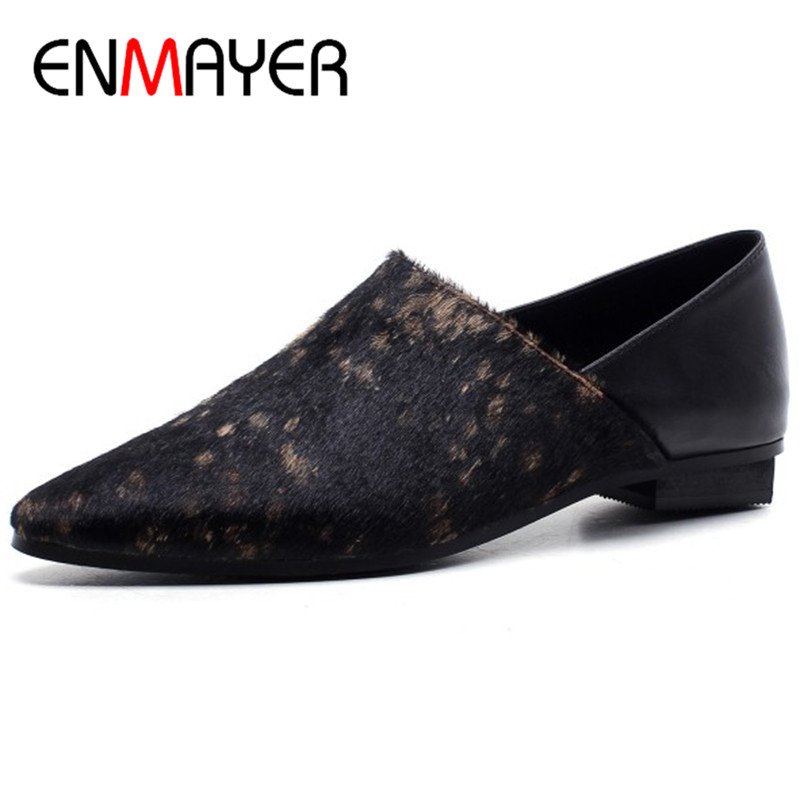 ENMAYER Horsehair Material Shoes Woman Derby Shoes Flats Shallow Large Size 34 43 Black Pointed Toe