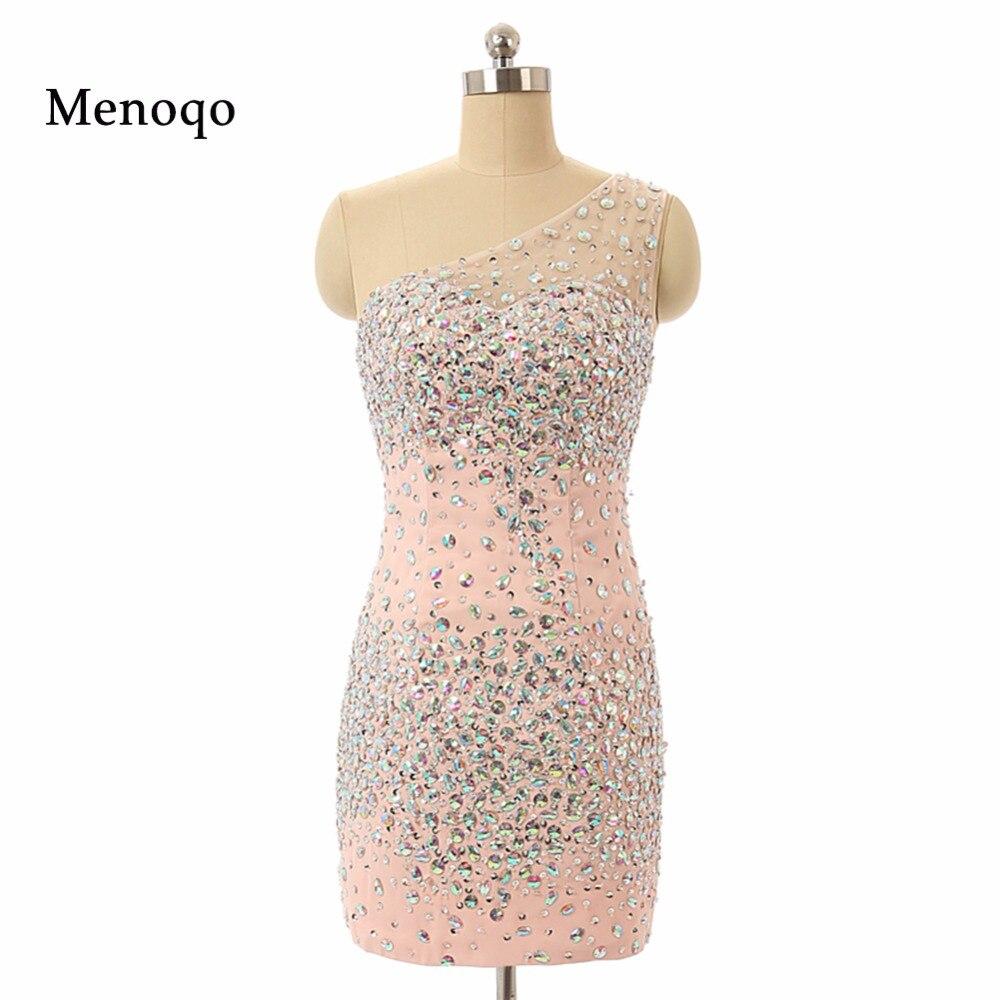 2018 תמונה אמיתית שמלה רשמית קצרה כתף אחת קריסטל חרוזים מעל הברך שמלות קוקטייל Custom Made שיפון ציפר כיתה