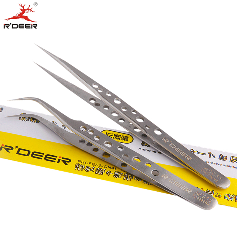 RDEER Electronics Tweezers Forceps Stainless Steel Anti-Skid Hard Thickness For Chemical Medical Makeup Hand Tools