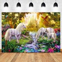 NeoBack Fairytale Gold Castle Backdrop Unicorn Colored Bird Background Wonderland Summer Garden Flower Photography Backdrops