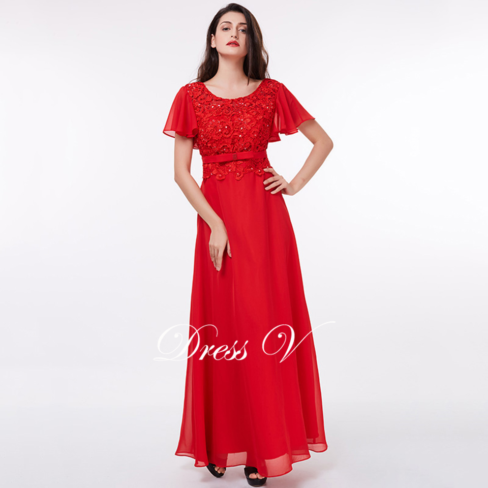445b711b0c Dressv red short sleeves a line sequins lace floor length wedding ...