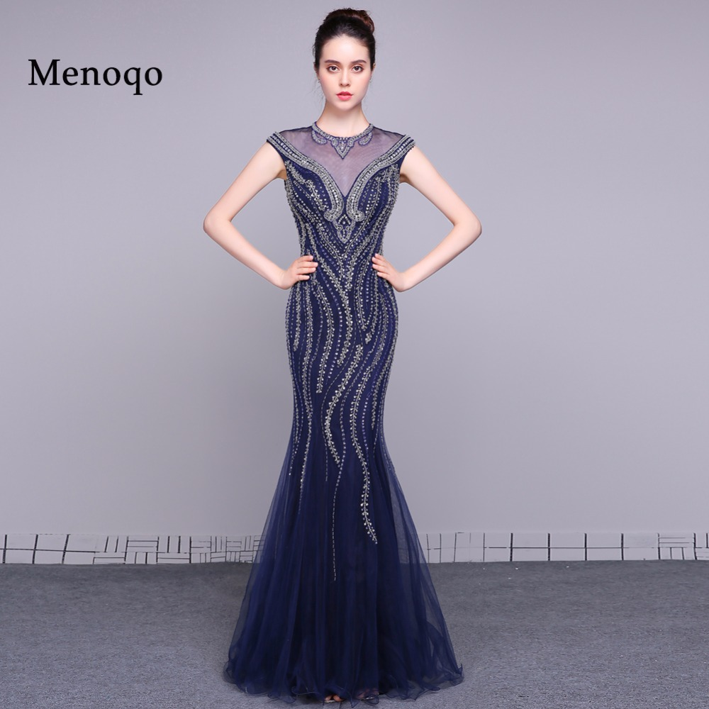 PRD0232 Sexy Sheer Back Cap sleeve   Evening     Dresses   2019 Mermaid Beading 100% Original Real Picture Prom   Dresses   Special Occasion