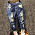 Марка брюки брюки моды девушка дети джинсы мальчик рваные джинсы мода ковбойские брюки детские досуг ковбой мальчик