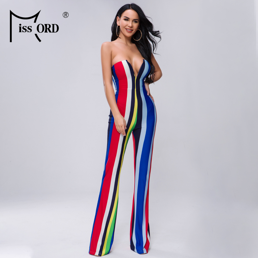 Missord 2020 Women Summer Sexy Off Shoulder Rompers Casual Multi Color Elegant Backless Striped Jumpsuit FT19460