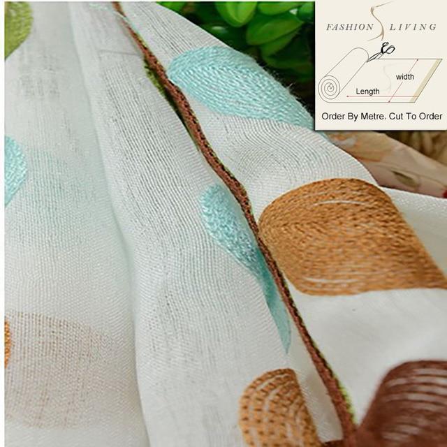 280 cm large plante feuille broderie sheer tissus pour rideaux de
