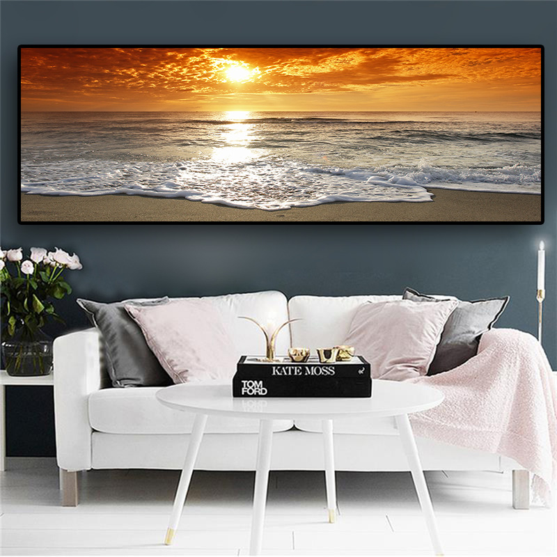 HTB1sU.tBZuYBuNkSmRyq6AA3pXar Sunsets Natural Sea Beach Landscape Posters and Prints Canvas Painting Panorama Scandinavian Wall Art Picture for Living Room