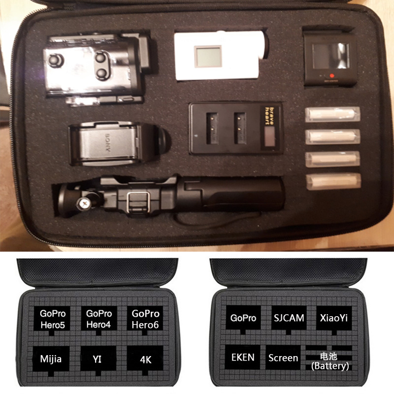 DIY Travel Bag Storage Case For Gopro Hero 7 6 5 4 Session Xiaomi Yi 4K Mijia SJCAM EKEN SONY X3000 Sport Camera Waterproof Box