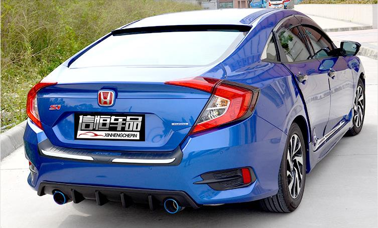 10Th Gen Civic >> ABS/real carbon fiber Car dual/twopair outlet rear diffuser and exhaust tail pipe, tips For ...