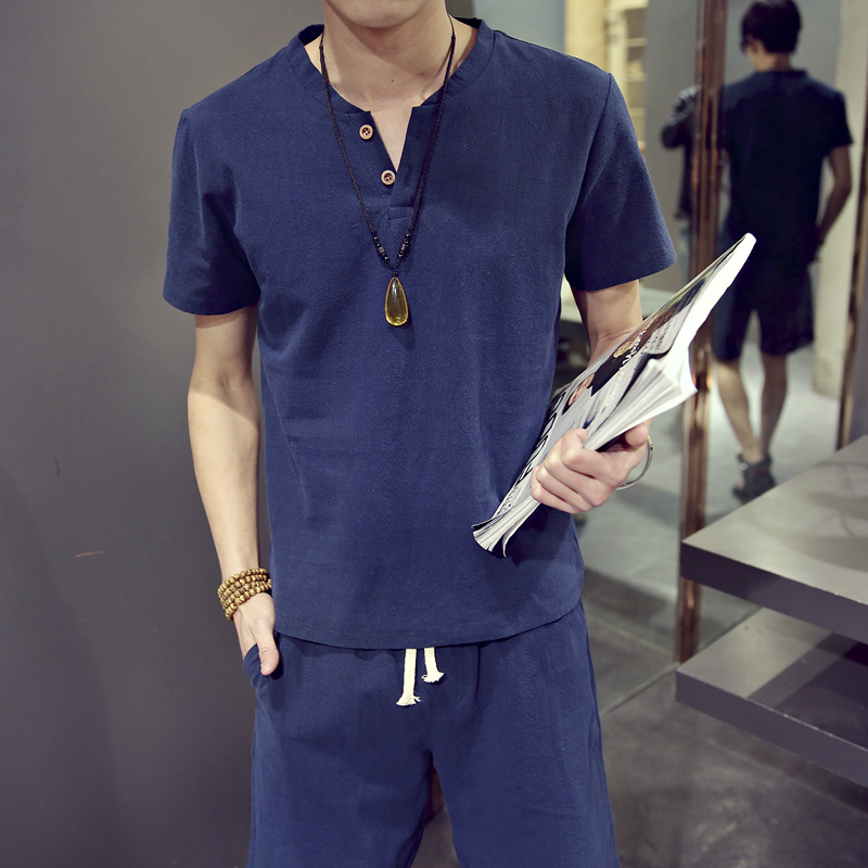 T Shirts Shorts Plus Size M-9XL Summer Brand Tshirt Men Light Breathable Casual Beach Set Linen T-shirt Suit Male Fashion