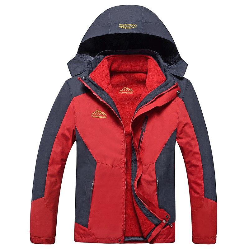 ФОТО Outdoor Winter Women Ski Suit Two-Piece Hiking Jacket Large Size 9 Color Fleece Warm Jacket Men Windproof Hood Sport Jacket 1203