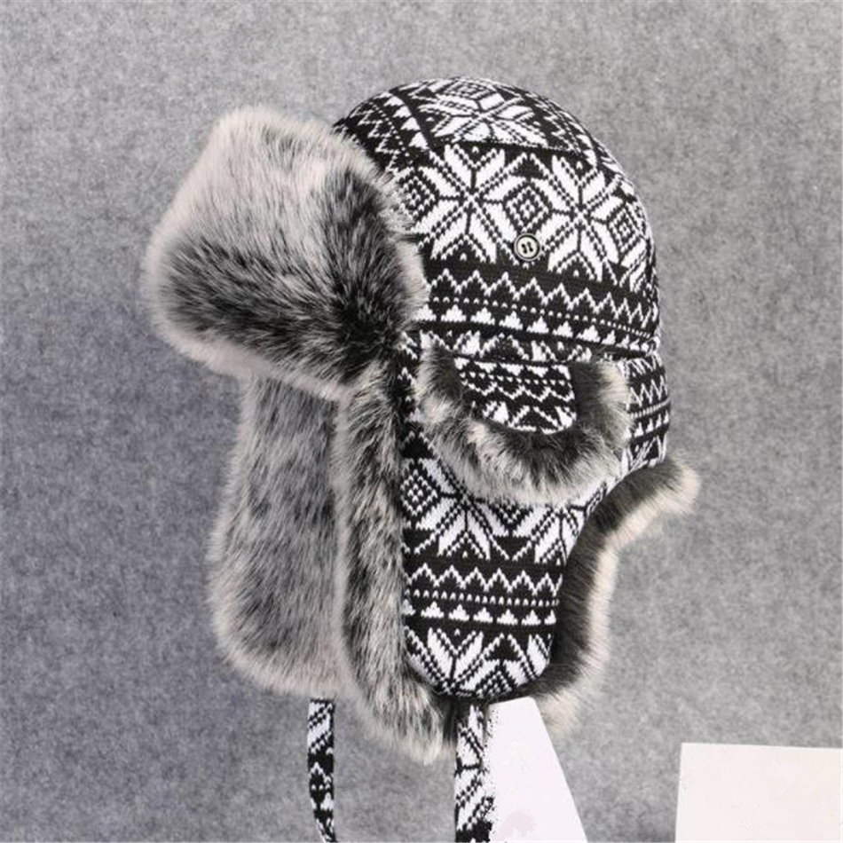 Image 5 - BUTTERMERE Russian Fur Hat Ushanka Black White Bomber Hats Male Female Ear Flaps Winter Thick Warm Knitting Outdoor Trapper Hat-in Men's Bomber Hats from Apparel Accessories