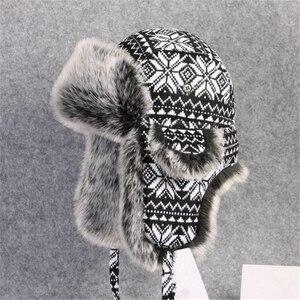 Image 5 - BUTTERMERE רוסית פרווה כובע Ushanka שחור לבן כובעי מפציץ זכר נקבה אוזני כלב חורף עבה חם סריגה חיצוני הצייד כובע