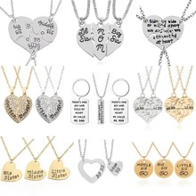 ae8b4ba253 Best Friends Sister Necklace Women Big Middle Little Sis Mother Dad Heart  Pendant Necklace Creative BFF