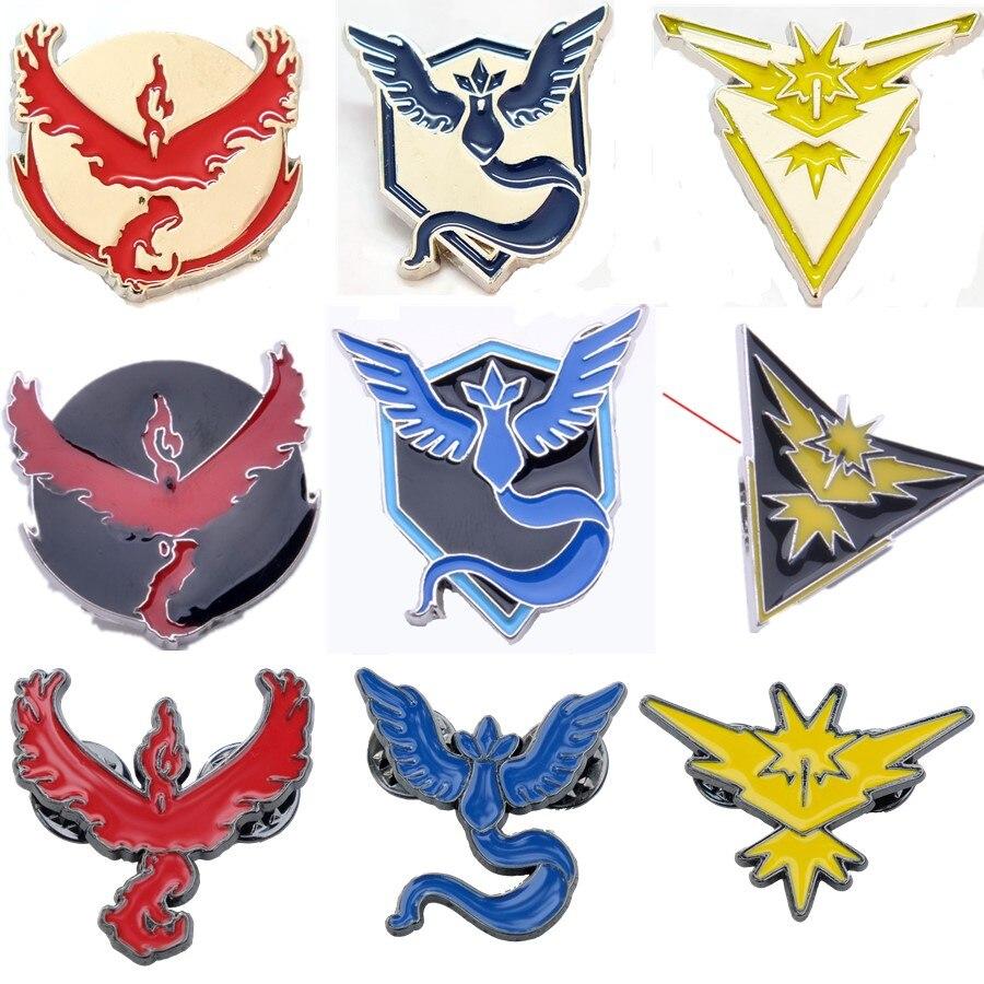 12 Arten Pokemon Gehen Broschen Team Mystic Team Valor Team Instinct Abzeichen Pins Arktos Zapdos Moltres Form Pins Für Rucksack