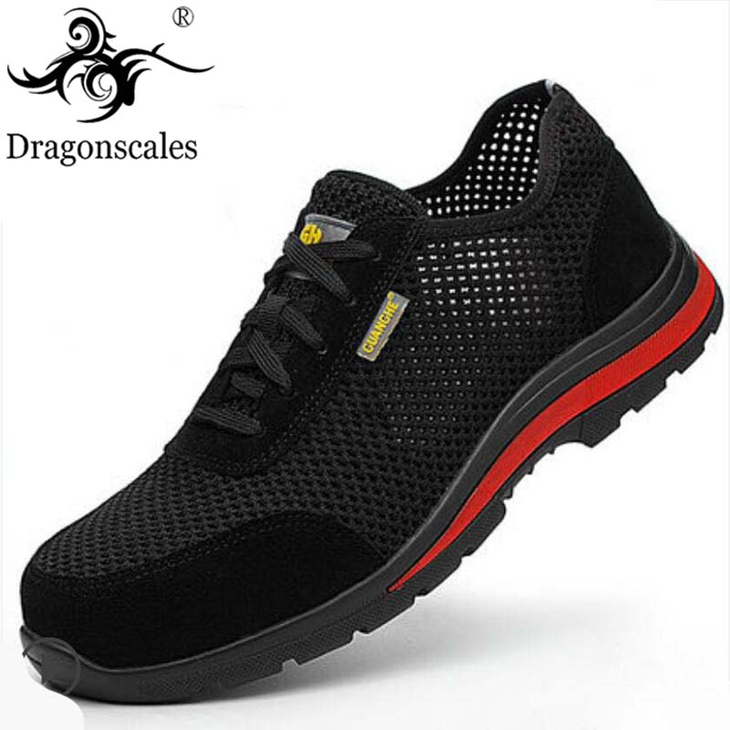 Summer Men And Women Fashion Breathable Mesh Steel Head Safety Shoes Anti-puncture Anti-slip Black Outdoor Protective Shoes
