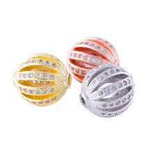 10mm Hollow Ball Beads DIY Micro Pave CZ Watermelon Ball Shape Beads For Bracelets Making Jewelry Accessories 5pcs CHF125