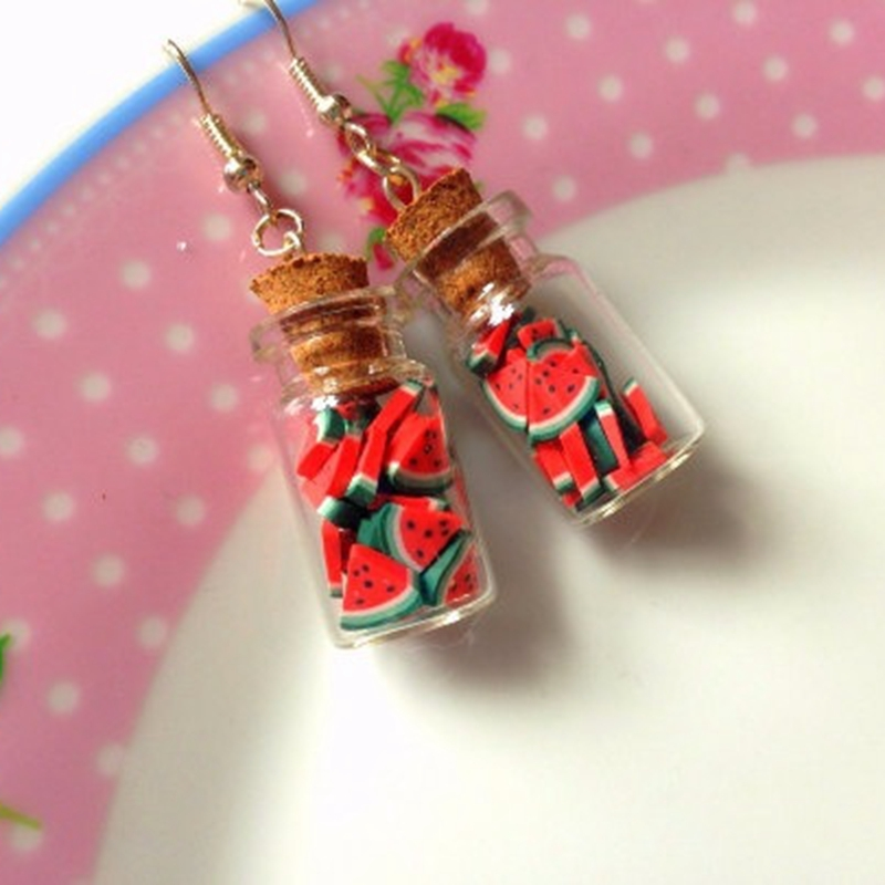 Watermelon Earrings, Fruit Earrings, Fruit jewellery, glass bottle earrings, summer watermelon jewellery gift