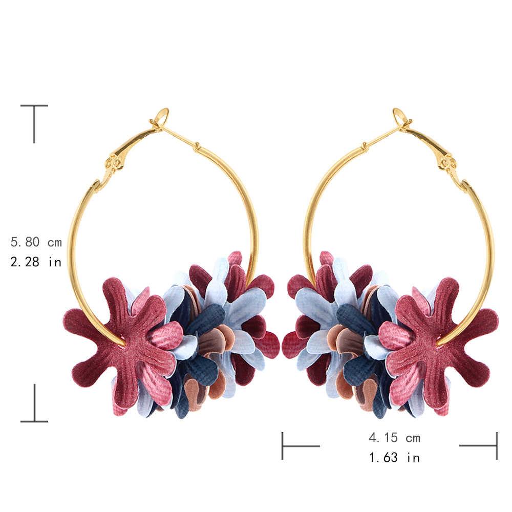 แฟชั่นคลาสสิกวงกลมขนาดใหญ่ Drop ต่างหูผู้หญิงผ้าดอกไม้ DIY Vintage Dangle ต่างหูหูหญิง Drop รอบ Hoop ของขวัญ