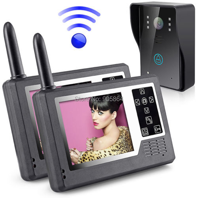 Wireless 2.4G  3.5inch Digital LCD IR Camera Video Door Phone Intercom System 1 to 2 Home Security