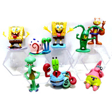 8pcs/1set SpongeBob Patrick Star Mini New Arrivals PVC Action Figures Nendoroid Toys Statue Collectible Movie Figurines