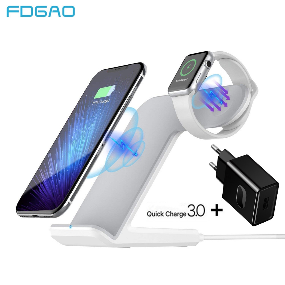 FDGAO Qi Wireless Charger For Apple Watch 2 3 4 For iPhone
