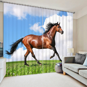 Senisaihon Cafe Office 3D Blackout Curtains Red Horse Animals Pattern Washable Fabric Children Bedroom Curtains for Living Room